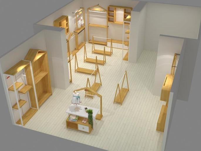 服装展示柜设计现场进行分类及材料搭配使用